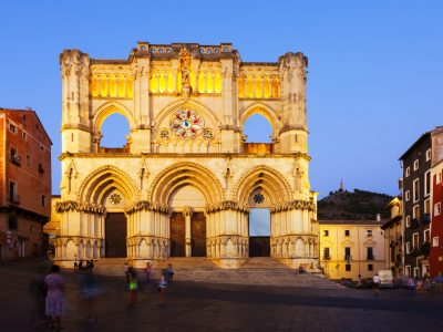 Evening view of Cathedral of Our Lady of Grace and Saint Julian. Cuenca, Spain