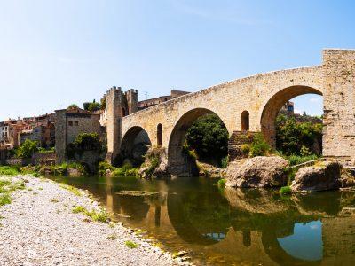 Panoramic view of medieval bridge in Besalu. Catalonia